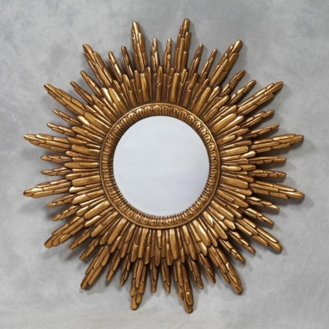 Gold Sun Framed Mirror