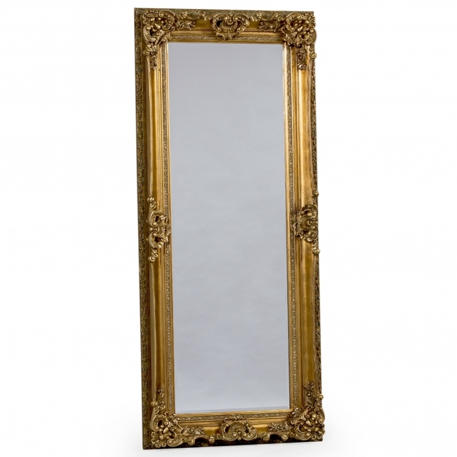 Gold tall antique french style mirror french mirrors online for Tall gold mirror