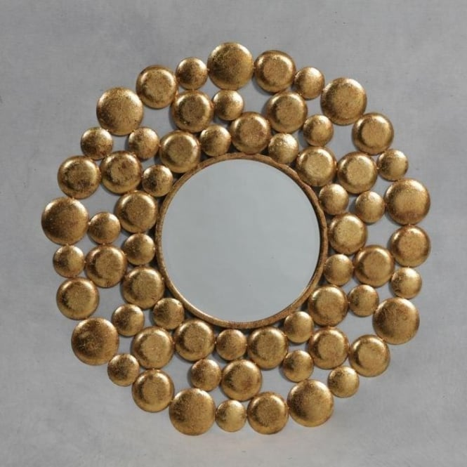Golden Balls Round Metal Mirror