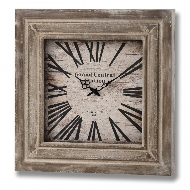 Grand Central Squared Wooden Wall Clock