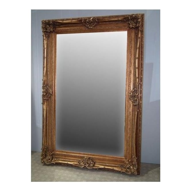Grand gold ornate style antique french style wall mirror for Antique style wall mirror