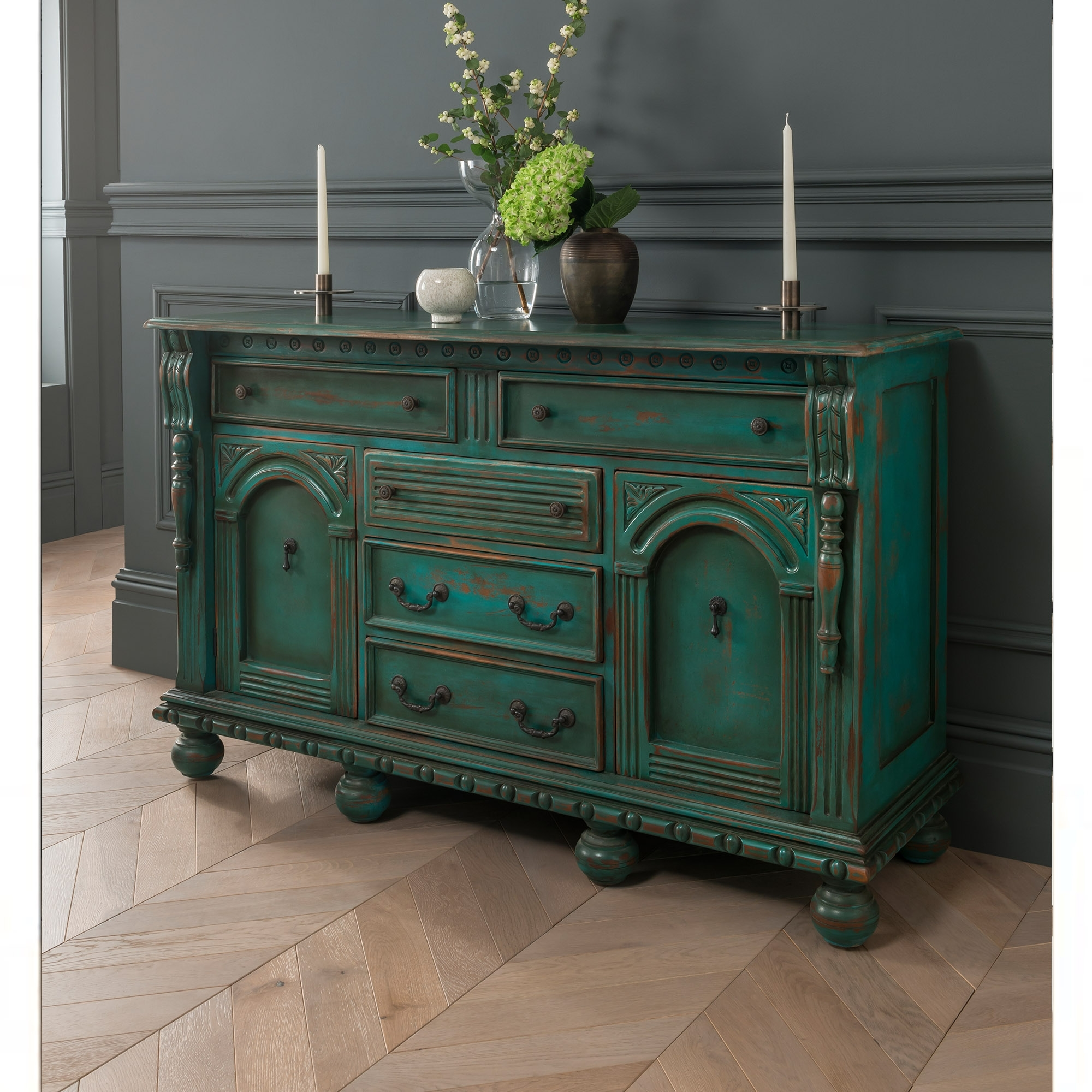 Green Antique French Style Sideboard Shabby Chic Dining Furniture