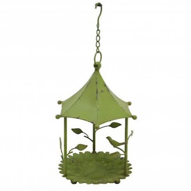 Green Hexagon Hanging Bird Feeder