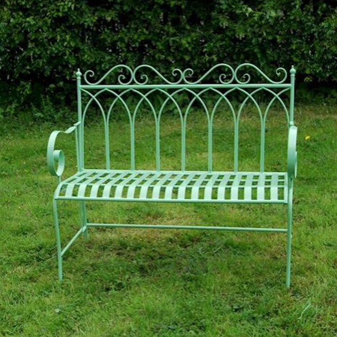 Green King Shabby Chic Outdoor Bench