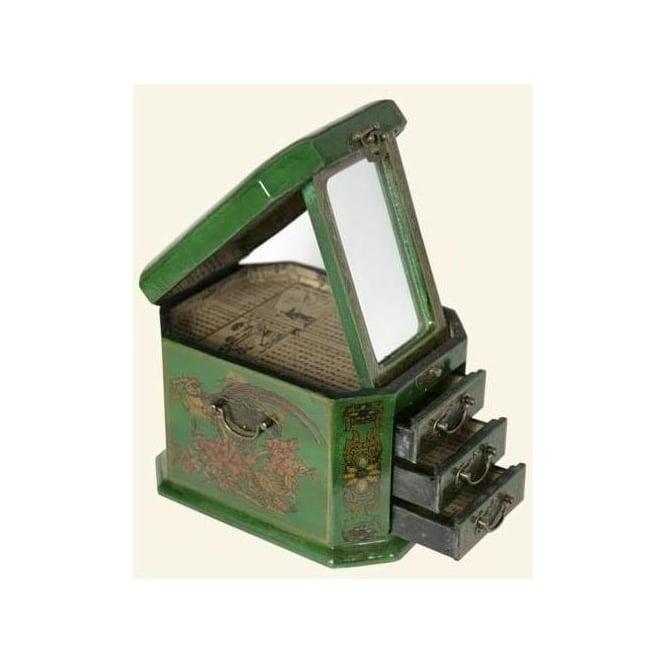 Green Leather Jewellery Box