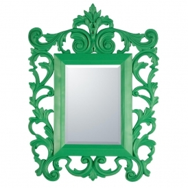 Green Rococo Antique French Style Mirror