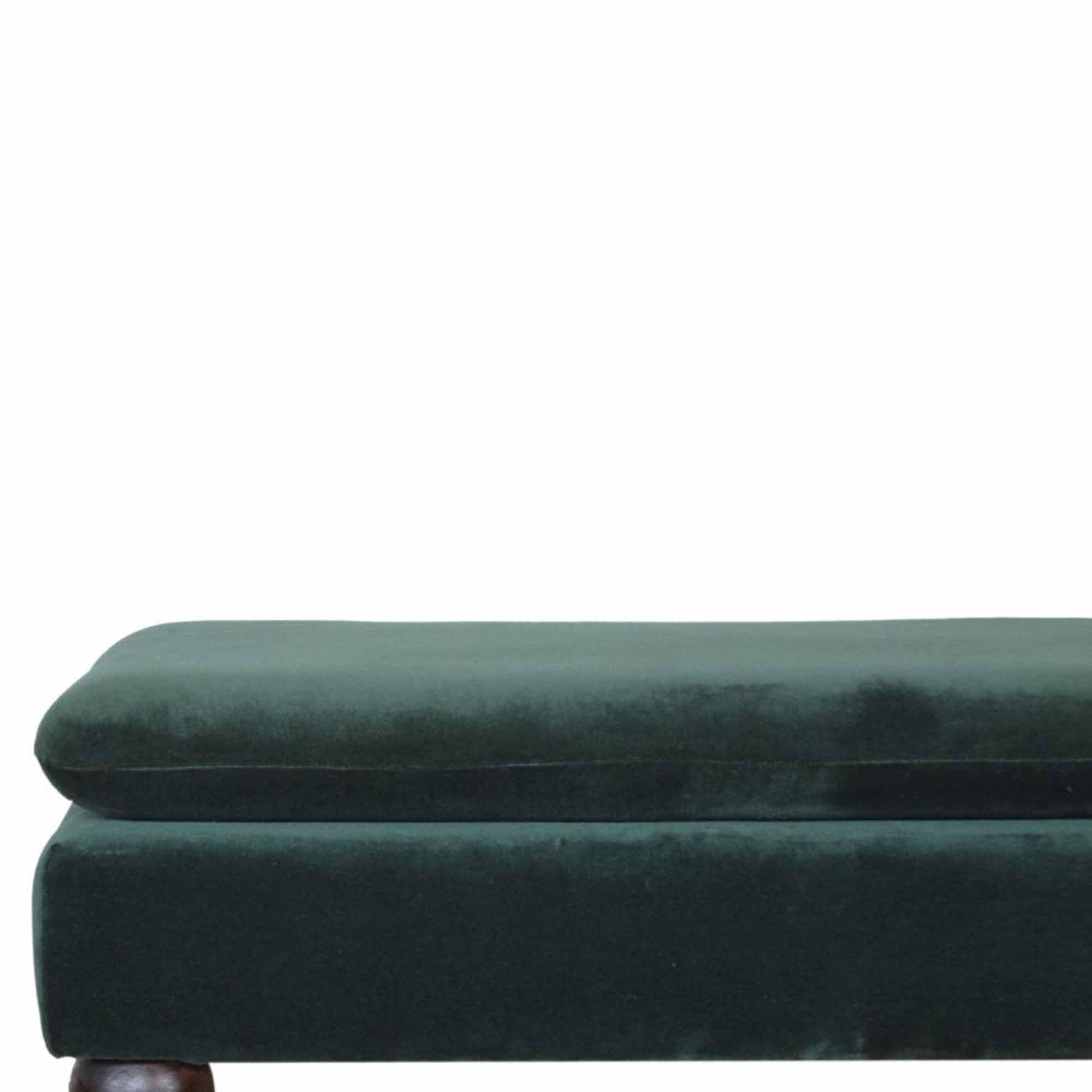 Green Velvet Storage Bench Modern Furniture Benches