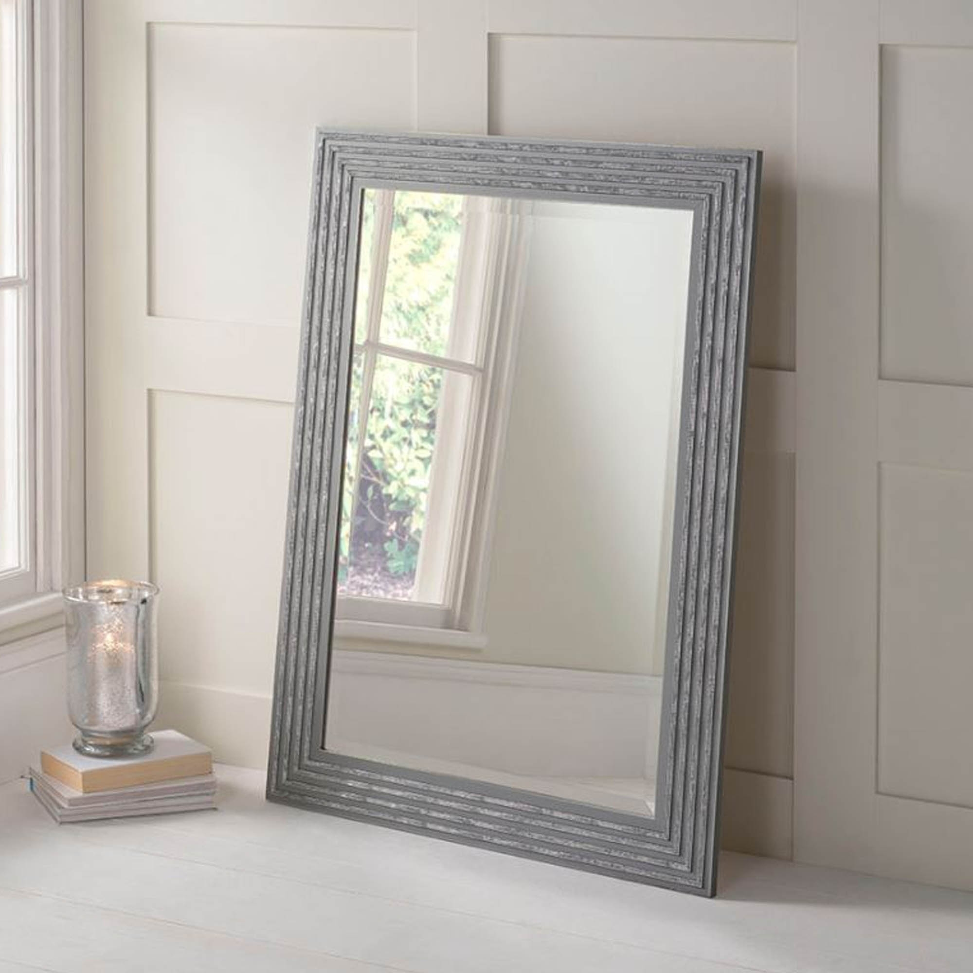 Grey and Silver Decorative Wall Mirror | Decor ... on Wall Mirrors id=51285