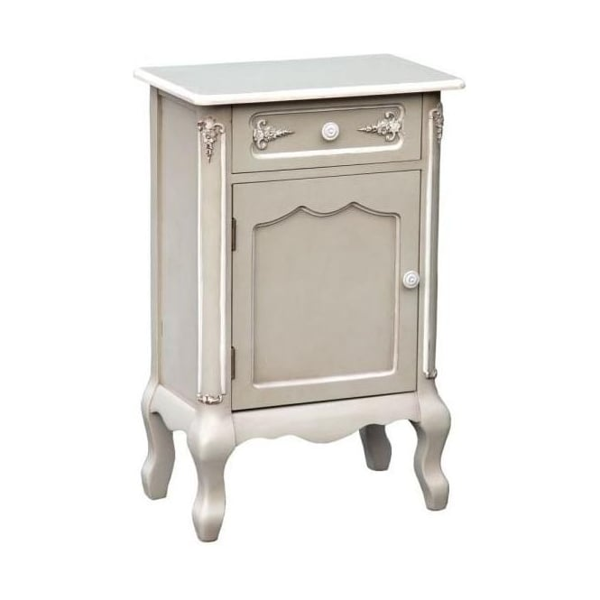 Grey Antique French Style Bedside Cabinet