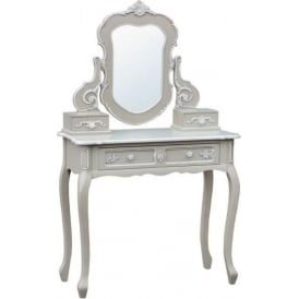 Grey Antique French Style Dressing Table with Mirror
