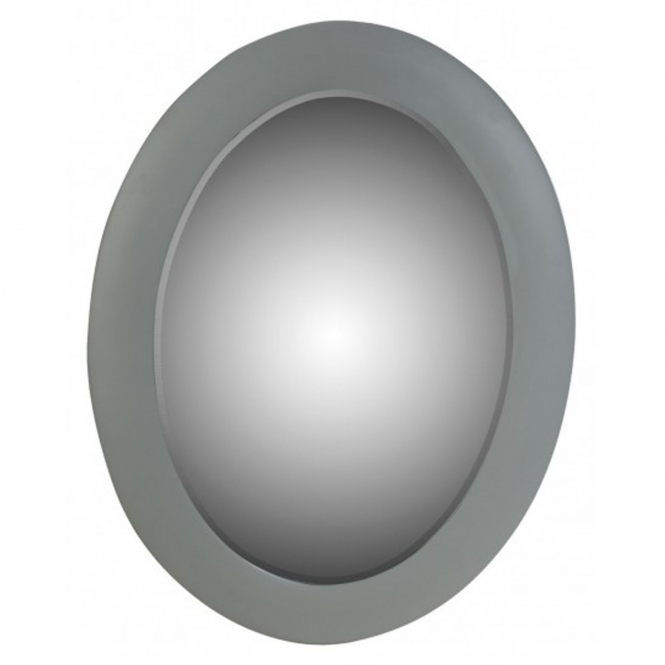 Grey Bevelled Oval Mirror