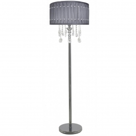 Grey Crystal Antique French Style Floor Lamp