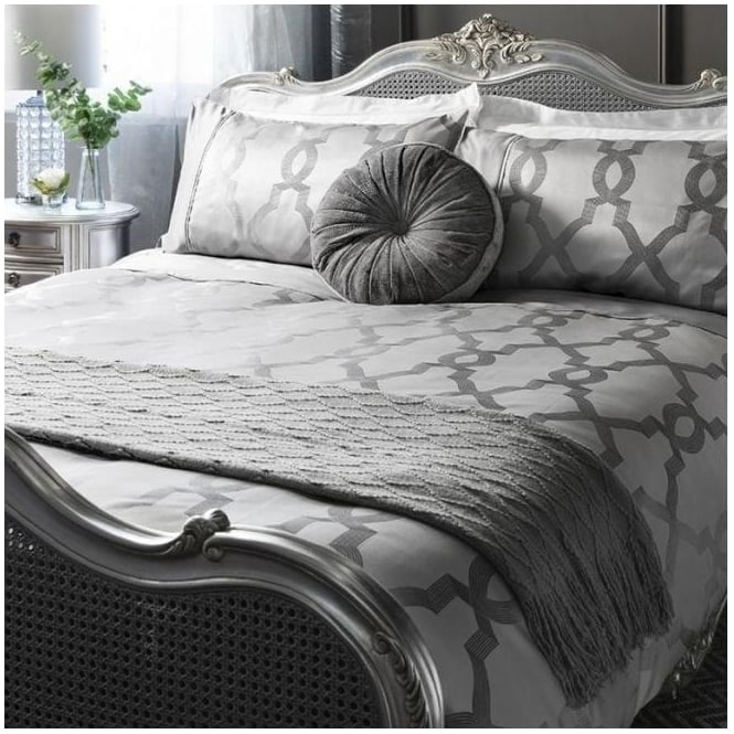 Grey Jaquard Quilt Cover Set