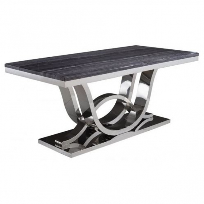 Grey Marble Mirrored Dining Table