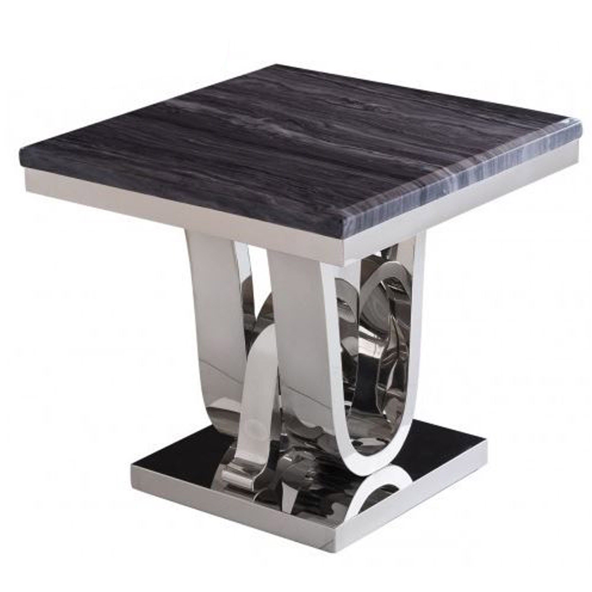 Grey Marble Mirrored Side Table Side Tables