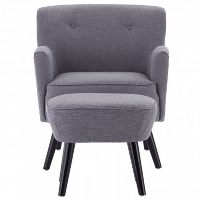 Grey Odense Armchair With Footstool