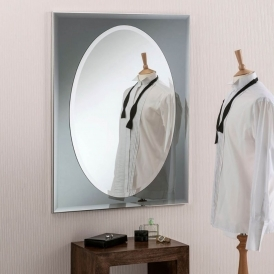 Grey Oval Contemporary Wall Mirror