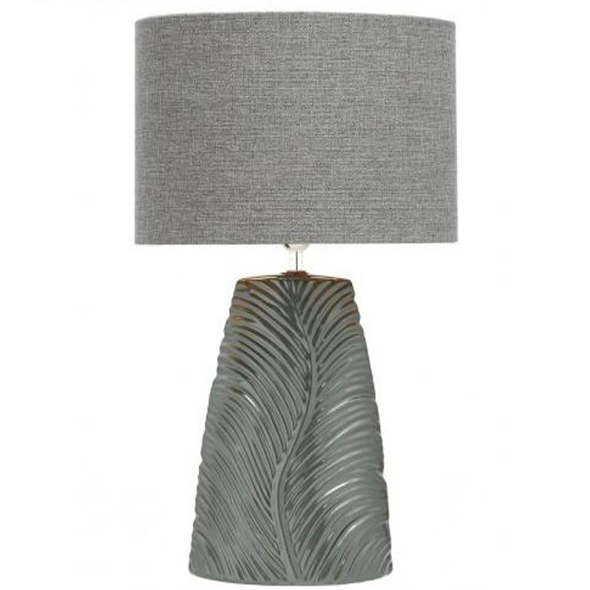 Grey ribbed leaf table lamp lamp homesdirect365 grey ribbed leaf table lamp aloadofball Choice Image