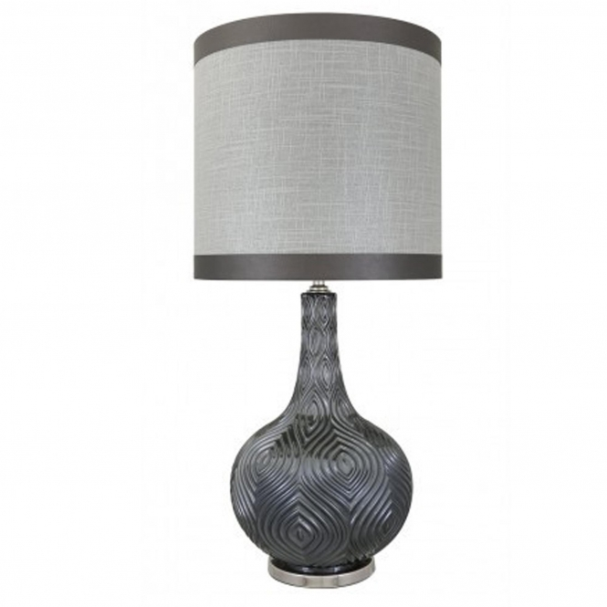 Grey Round Decorative Table Lamp
