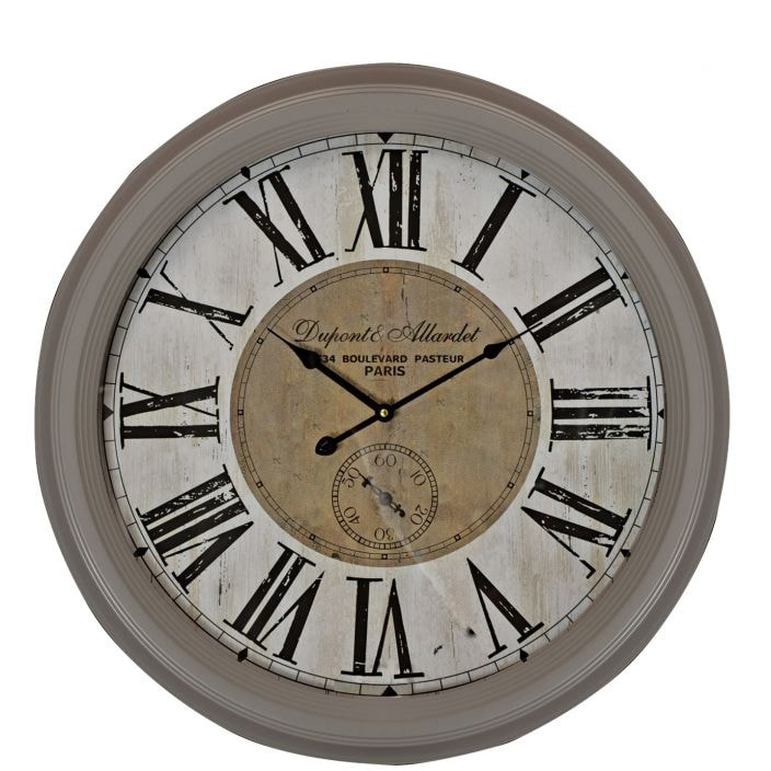 Grey Script Shabby Chic Wall Clock