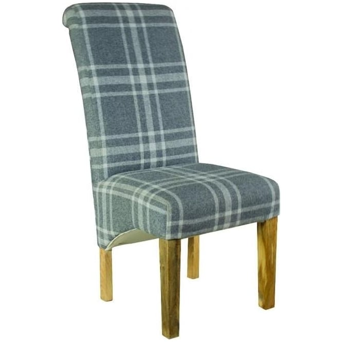 Grey Tartan Dining Chair
