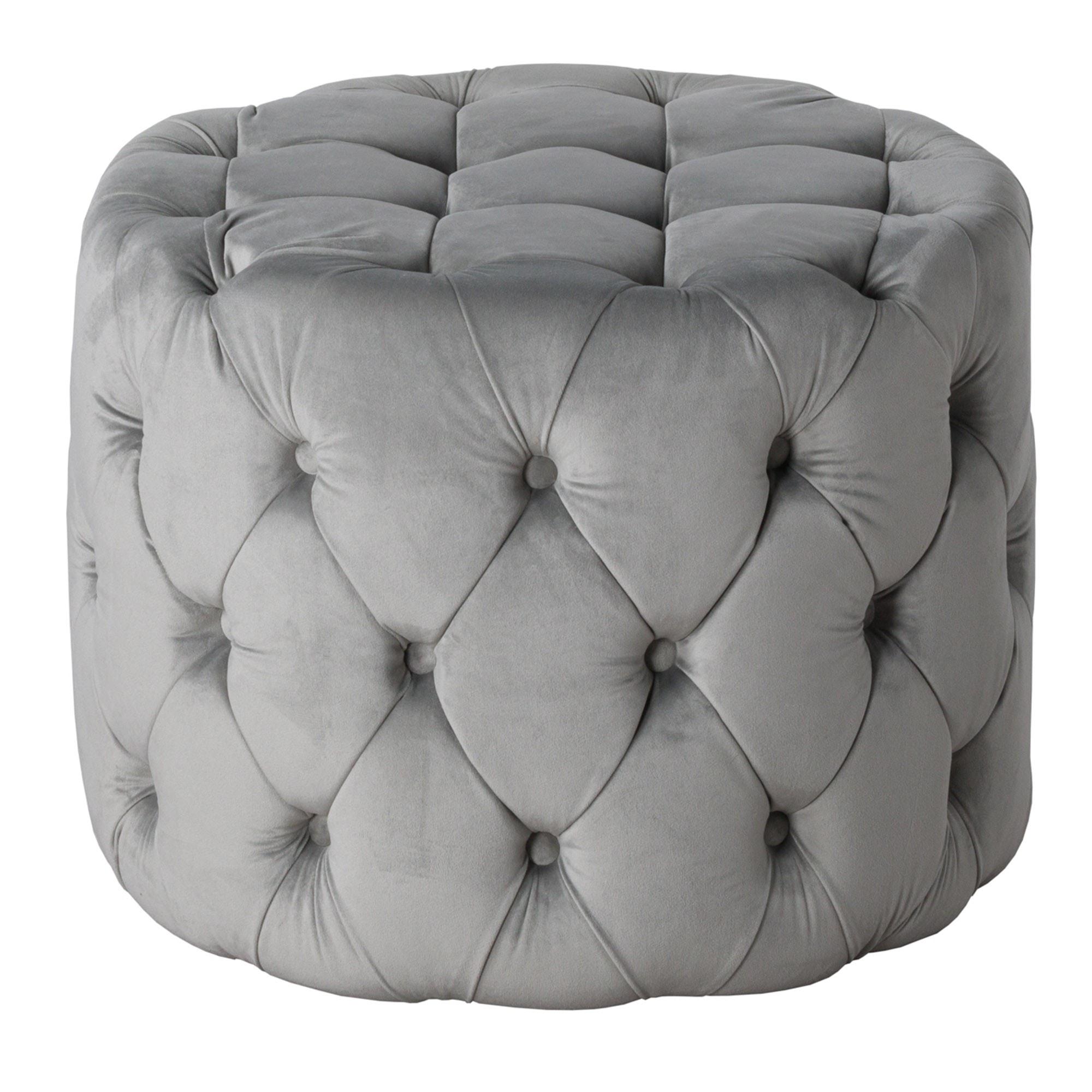 Grey Velvet Tufted Small Round Footstool Velvet Footstool