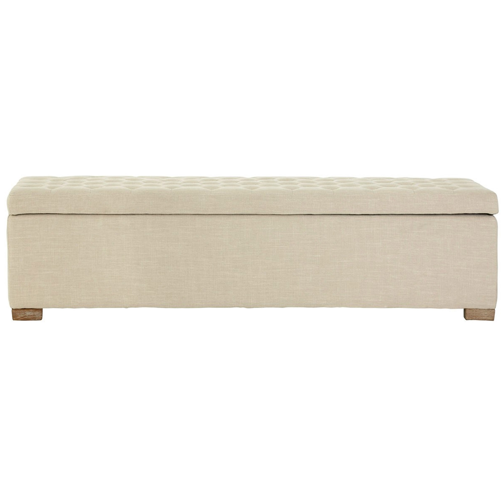 Ottomans Deacon Beige Upholstered Blanket Box: Antique-French Style Furniture
