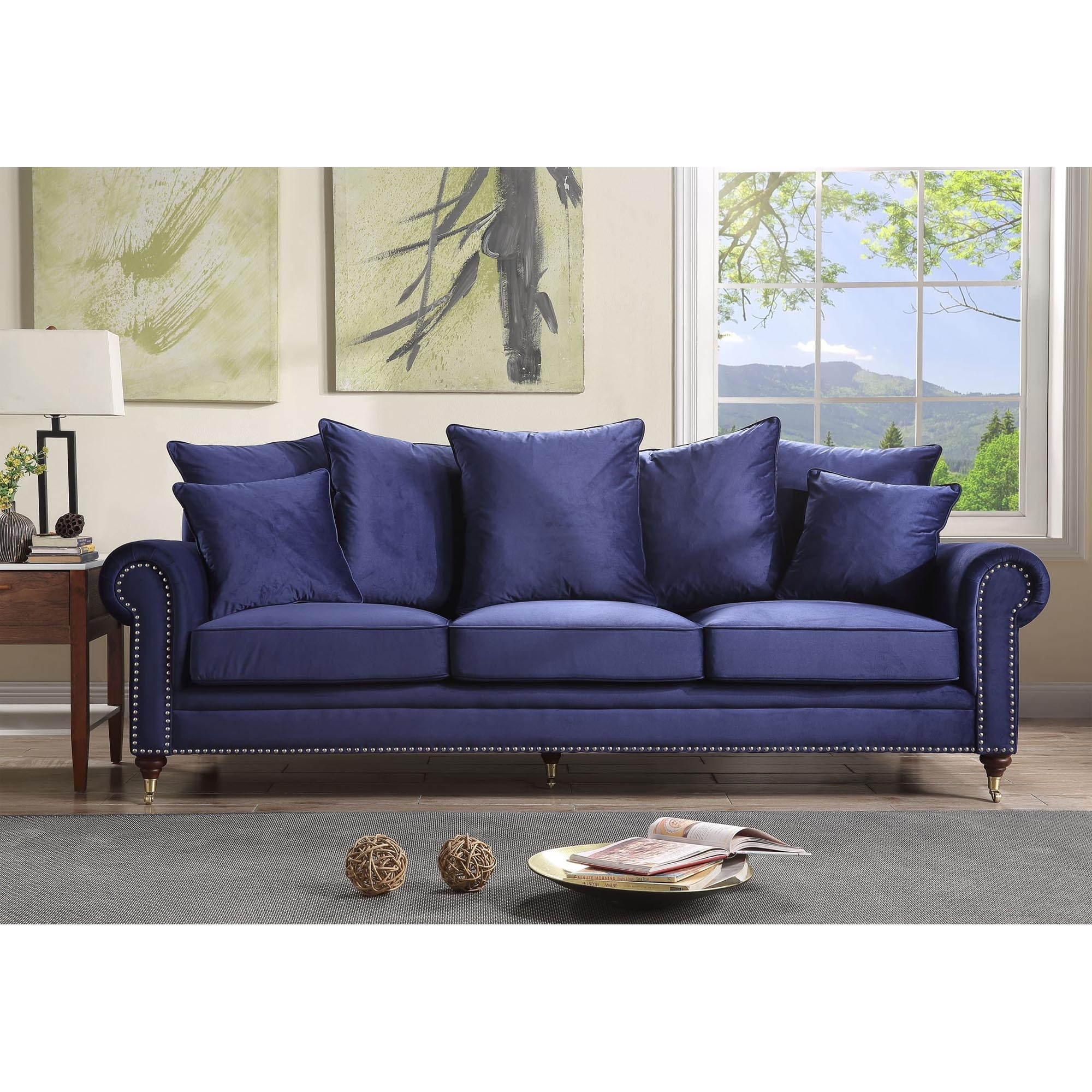 Hampton 3 Seater Royal Blue Sofa Sofa Homesdirect365