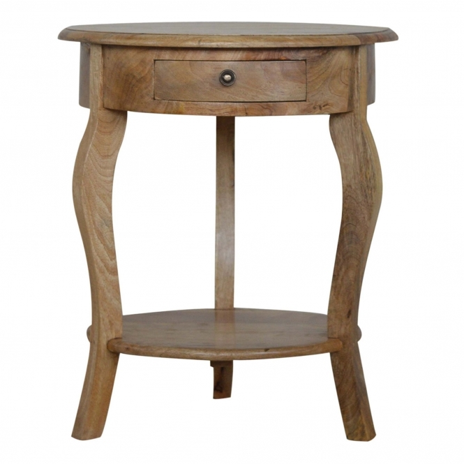 Handmade Mango 1 Drawer Round Side Table