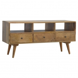 Handmade Mango 3 Drawer 3 Shelf TV Stand