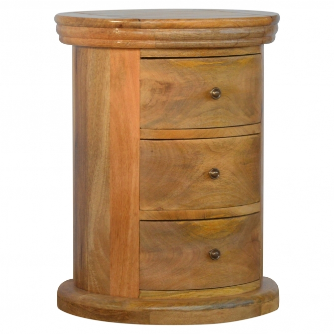 Handmade Mango Drum 3 Drawer Bedside Table