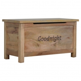 Handmade Mango 'Goodnight' Blanket Box