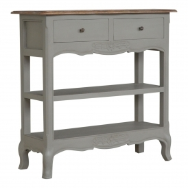 Handmade Mango Grey 2 Drawer Console Table