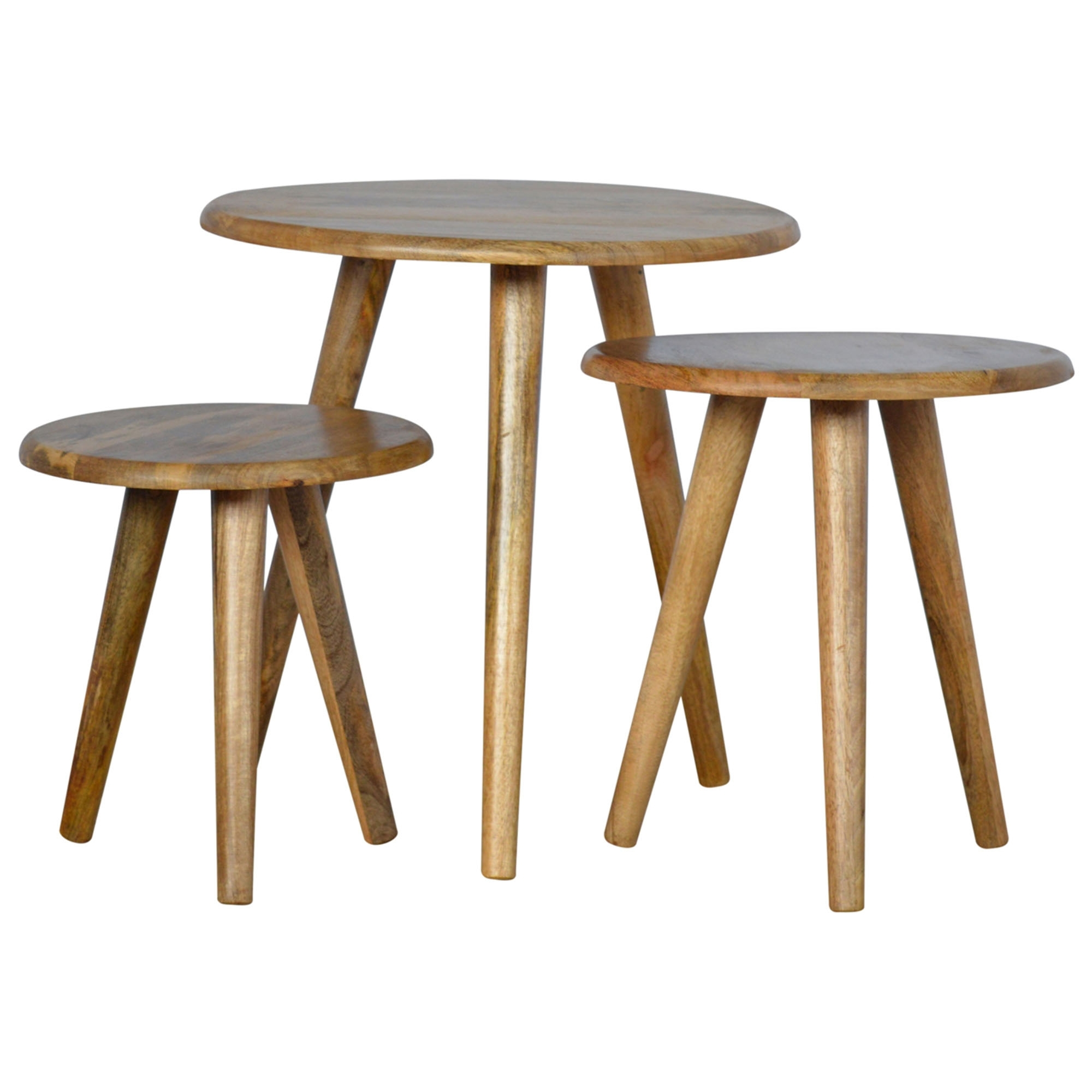 Handmade Mango Round 3 Nesting Tables Tables