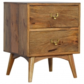 Handmade Mango Style Two Drawer Bedside Table