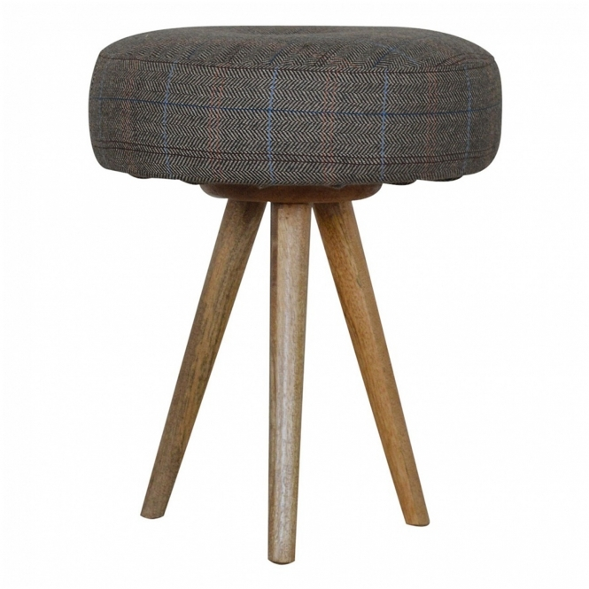 Handmade Mango Tripod Tweed Bar Stool