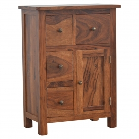 Handmade Rosewood 4 Drawer 1 Door Cabinet