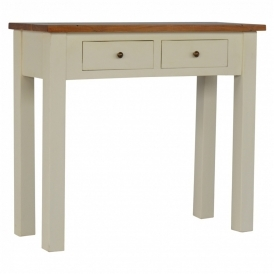 Handmade White 2 Drawer Console Table
