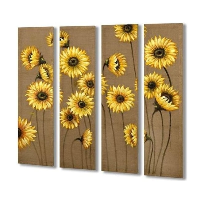 Handpainted 4 Panel Daisy Canvas