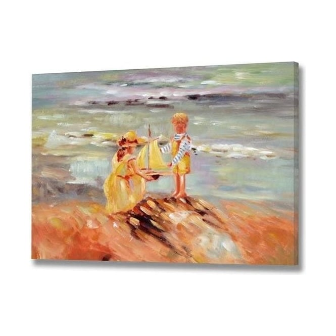 Handpainted Boy Playing With Boat Beach Scene Canvas