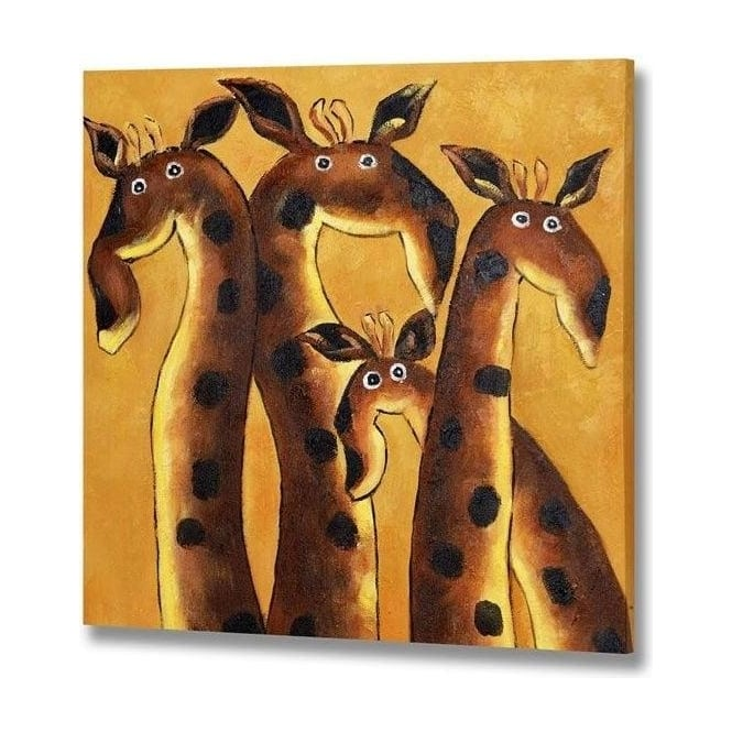 Handpainted Giraffes Canvas