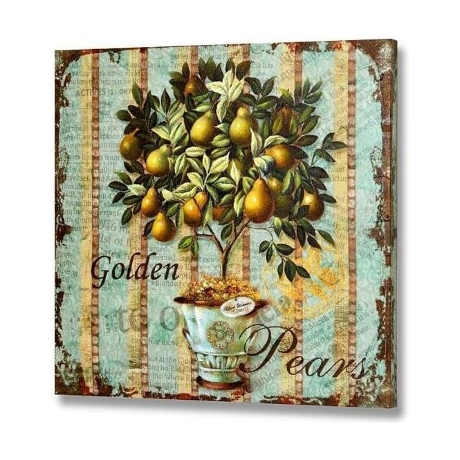Handpainted Golden Pears Canvas