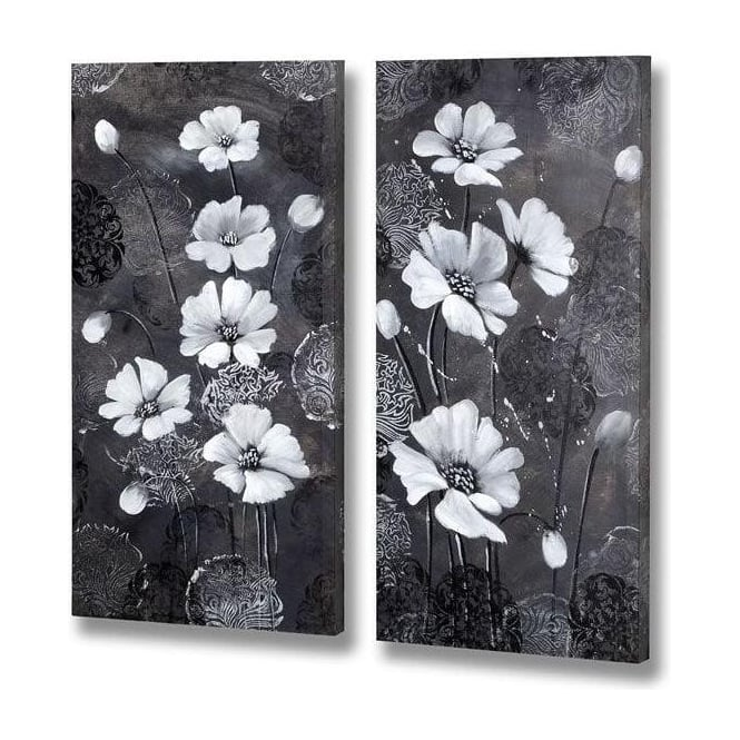 Handpainted Pair Of Flowers Canvas