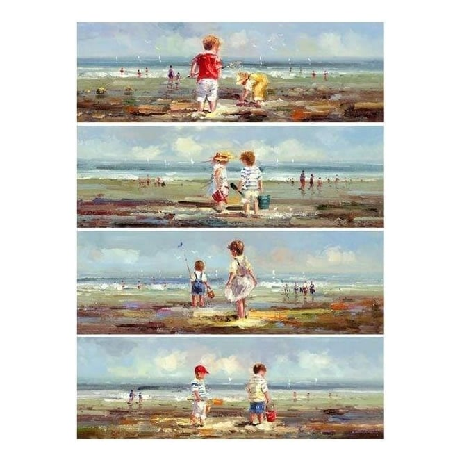 Handpainted Set Of 4 Children On Beach Canvas