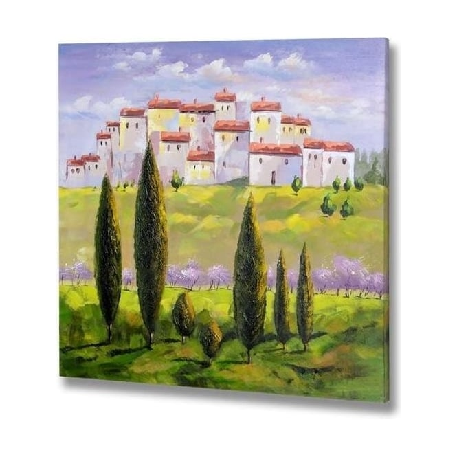 Handpainted Town On A Hill Canvas