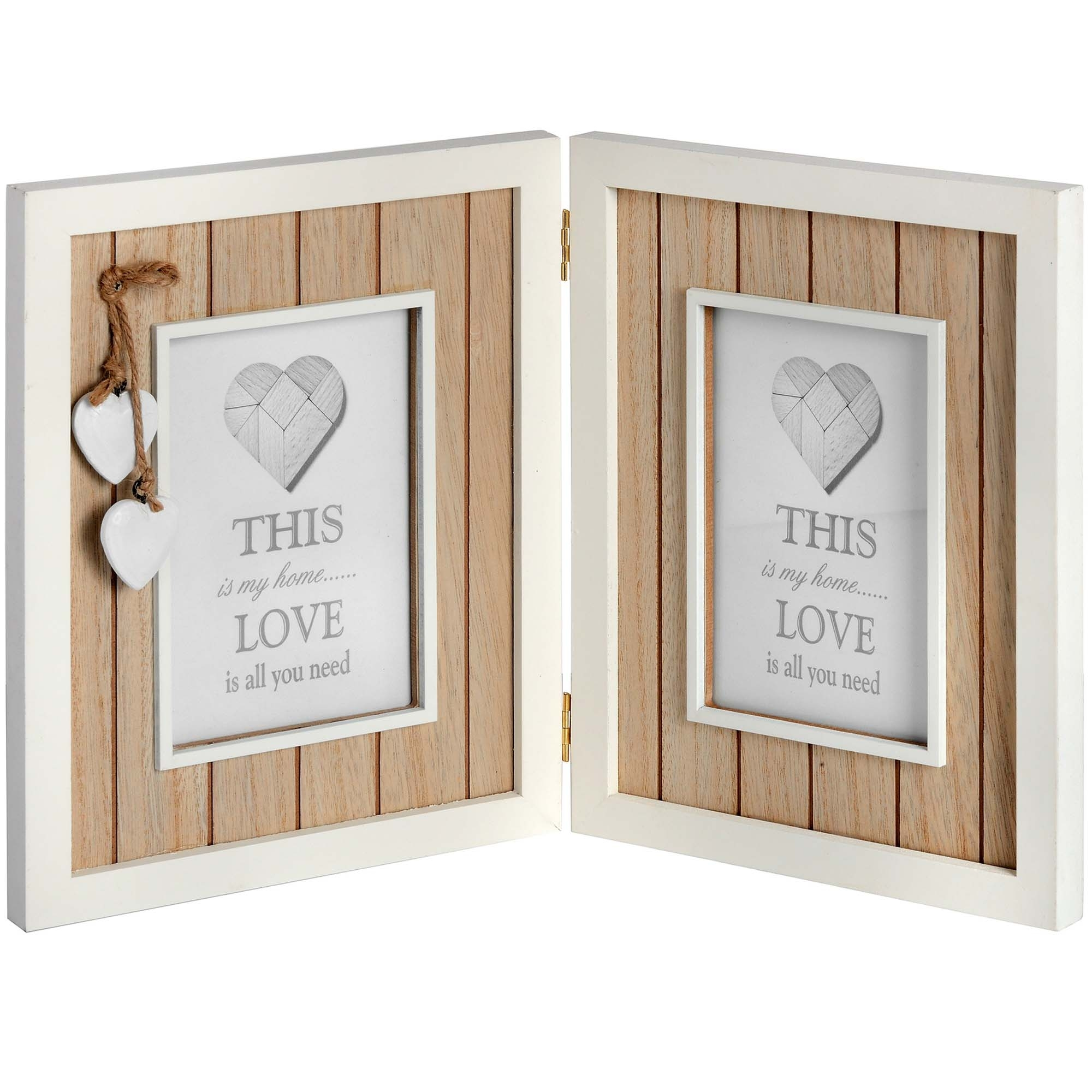 Heart Wood Double 6 X 4 Photo Frame Home Decor Homesdirect365