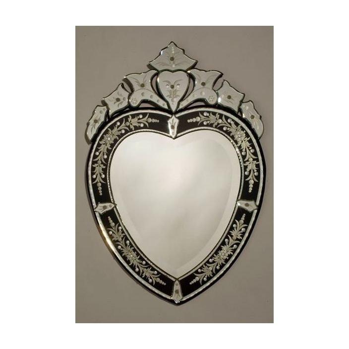 Heartshape venetian mirror with black crown for Black venetian mirror