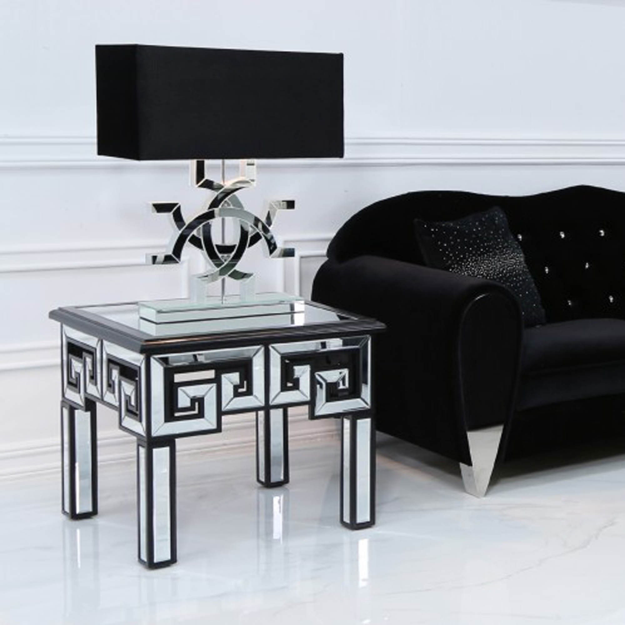 Picture of: Helios Mirror And Black End Table Mirrored Side Table Side Table