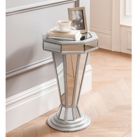 Mirrored Side Tables Lamp, Narrow Mirrored Side Table