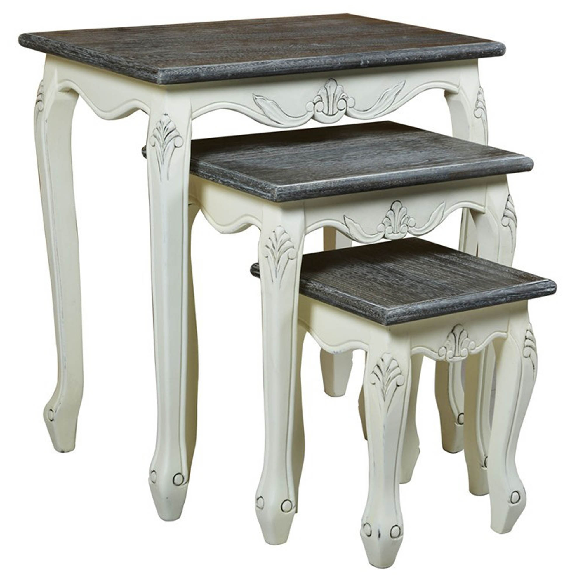 Heritage Shabby Chic Nest Of 3 Tables Side Tables Homesdirect365